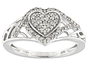 White Diamond Rhodium Over Sterling Silver Heart Cluster Ring 0.33ctw