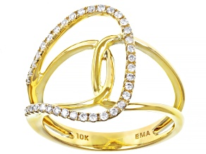 White Diamond 10K Yellow Gold Open Design Ring 0.20ctw