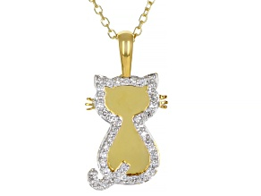 White Diamond 10K Yellow Gold Cat Pendant With Adjustable Cable Chain 0.10ctw