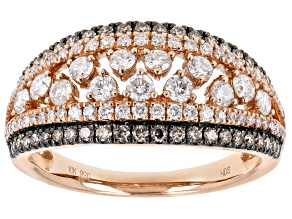 Champagne And White Diamond 10K Rose Gold Wide Band Ring 1.00ctw