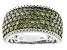 Green Diamond Rhodium Over Sterling Silver Wide Band Ring 2.00ctw
