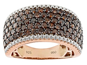 Red Diamond 14K Rose Gold Over Sterling Silver Wide Band Ring 2.00ctw