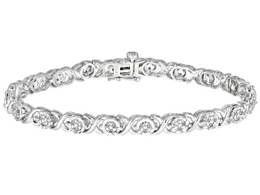 White Diamond Rhodium Over Sterling Silver Tennis Bracelet 0.25ctw