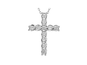 White Diamond Rhodium Over Sterling Silver Cross Pendant With Chain 0.25ctw