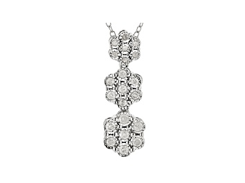 Picture of White Diamond Rhodium Over Sterling Silver Pendant With Chain 0.25ctw