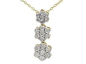 White Diamond 14K Yellow Gold Over Sterling Silver Pendant With Chain 0.25ctw