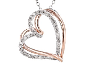 White Diamond Rhodium And 14K Rose Gold Over Sterling Silver Heart Pendant With Chain 0.25ctw