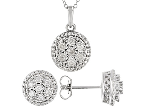 White Diamond Rhodium Over Sterling Silver Earrings and Pendant Jewelry Set 0.50ctw