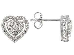 White Diamond Rhodium Over Sterling Silver Heart Cluster Earrings 0.10ctw