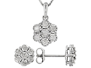 Picture of White Diamond Rhodium Over Sterling Silver Cluster Earring And Pendant Jewelry Set 0.50ctw