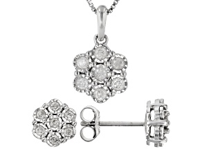 White Diamond Rhodium Over Sterling Silver Cluster Earring And Pendant Jewelry Set 0.50ctw