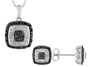 Picture of Black And White Diamond Rhodium Over Sterling Silver Earrings and Pendant Jewelry Set 0.48ctw