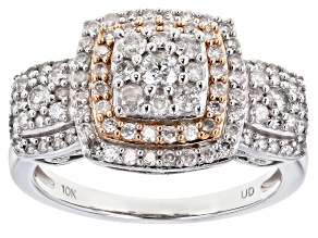 White Diamond 10k White Gold And 10K Rose Gold Accent Cluster Ring 1.00ctw