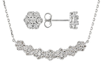 Picture of White Diamond Rhodium Over Sterling Silver Cluster Earring & Bar Necklace Jewelry Set 0.50ctw