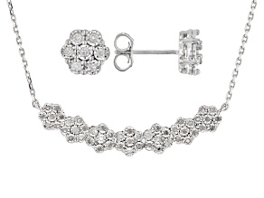 White Diamond Rhodium Over Sterling Silver Cluster Earring & Bar Necklace Jewelry Set 0.50ctw