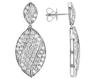 Picture of White Diamond 10k White Gold Dangle Earrings 2.85ctw