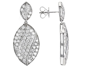 White Diamond 10k White Gold Dangle Earrings 2.85ctw