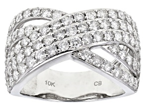 White Diamond 10k White Gold Crossover Ring 2.00ctw