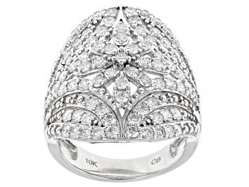 Picture of White Diamond 10k White Gold Cocktail Ring 2.00ctw