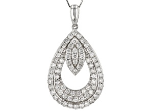 "White Diamond 10k White Gold Teardrop Pendant With 18"" Box Chain"