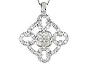 White Diamond 10k White Gold Pendant With 18