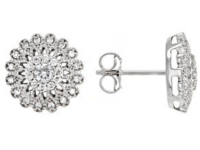 White Diamond 14K White Gold Cluster Earrings 0.50ctw