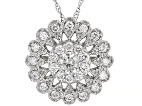White Diamond 14K White Gold Cluster Pendant With Chain 0.50ctw