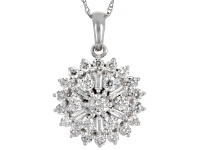 White Diamond 14K White Gold Cluster Pendant With Chain 1.00ctw
