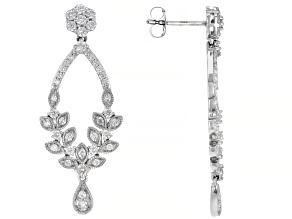 White Diamond 14K White Gold Dangle Earrings 1.00ctw