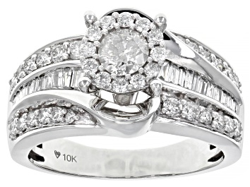 Picture of White Diamond 10K White Gold Cluster Ring 1.00ctw