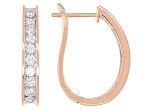 White Diamond 14K Rose Gold Hoop Earrings 1.00ctw