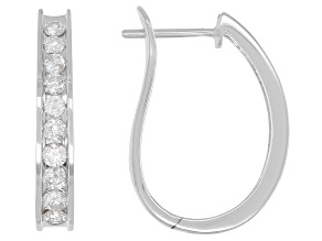 White Diamond 14K White Gold Hoop Earrings 1.00ctw