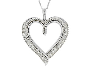 White Diamond 10K White Gold Heart Pendant With Rope Chain .50ctw