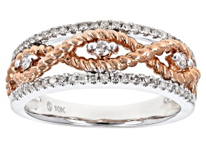 White Diamond 10K White And Rose Gold Band Ring .25ctw