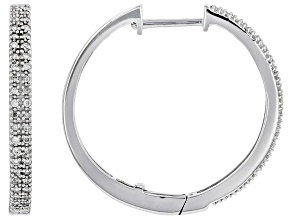 White Diamond Rhodium Over Sterling Silver Hoop Earrings 0.25ctw