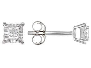 White Diamond 10K White Gold Stud Earrings 0.16ctw