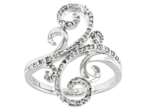 White Diamond Rhodium Over Sterling Silver Cocktail Ring 0.25ctw