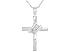 White Diamond Accent 10K White Gold Cross Pendant With Chain