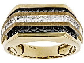 Black And White Diamond 10K Yellow Gold Mens Ring 0.50ctw