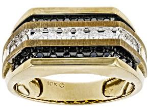 Black And White Diamond 10K Yellow Gold Mens Ring 0.50ctw