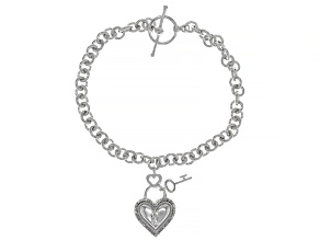 White Diamond Rhodium Over Sterling Silver Heart Charm Bracelet 0.10ctw