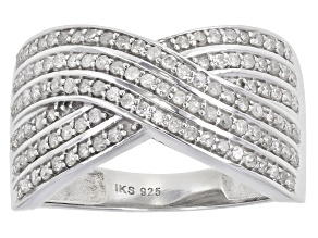 White Diamond Rhodium Over Sterling Silver Crossover Ring 0.60ctw