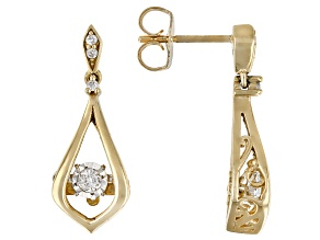 White Diamond 10K Yellow Gold Dangle Earrings 0.15ctw