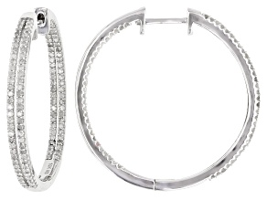 White Diamond 10K White Gold Hoop Earrings 1.25ctw