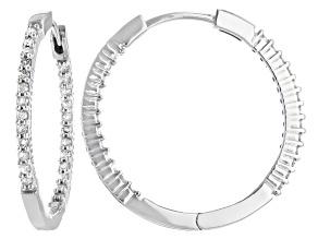 White Diamond 10K White Gold Hoop Earrings 0.40ctw