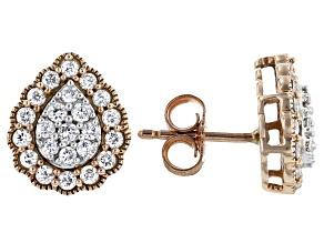 White Diamond 10K Rose Gold Cluster Earrings 0.50ctw