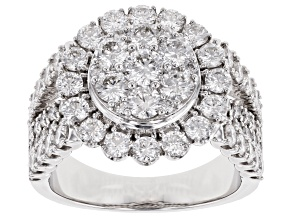 White Diamond 14K White Gold Bridge Ring 3.00ctw