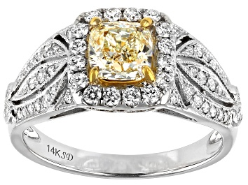 Picture of Natural Yellow And White Diamond 14K White Gold Ring 1.44ctw