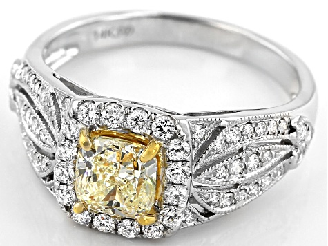 Natural Yellow And White Diamond 14K White Gold Ring 1.44ctw