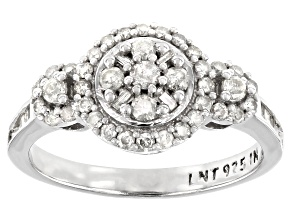 White Diamond Rhodium Over Sterling Silver Cluster Ring 0.64ctw